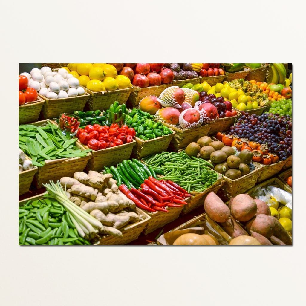 Fruit & Vegetables Market Multi Panel Canvas Wall Art - NicheCanvas