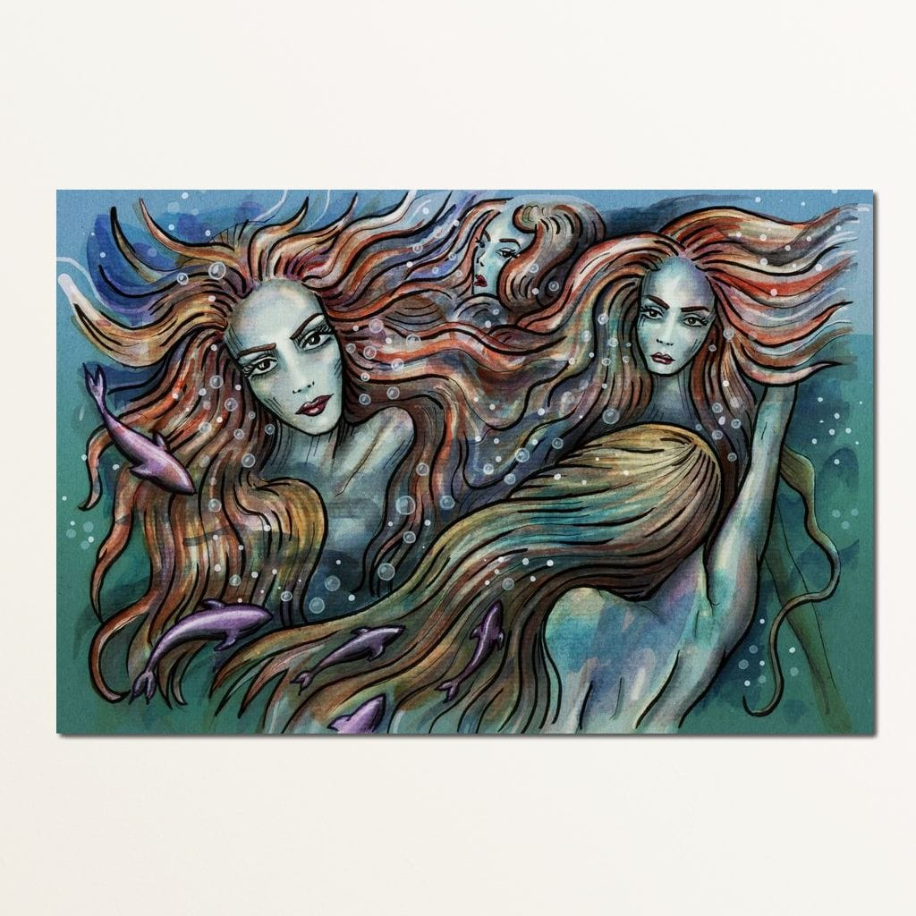 The 4 Mermaids Small Canvas