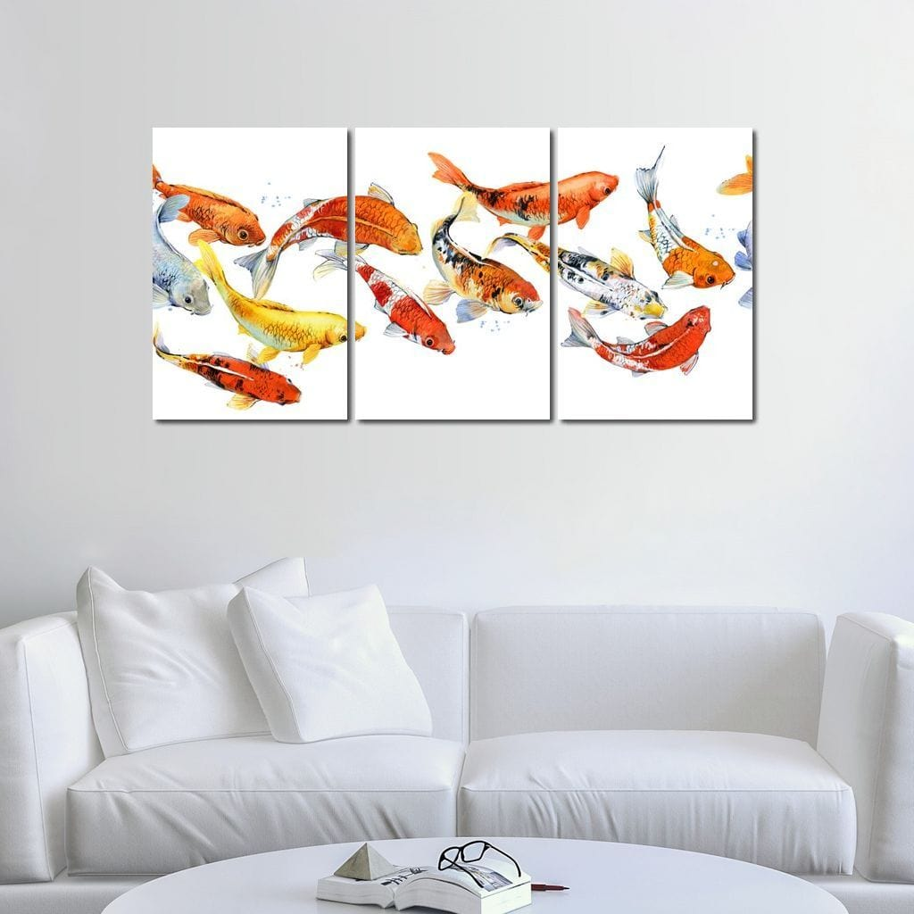 Koi Fish on White Background - NicheCanvas