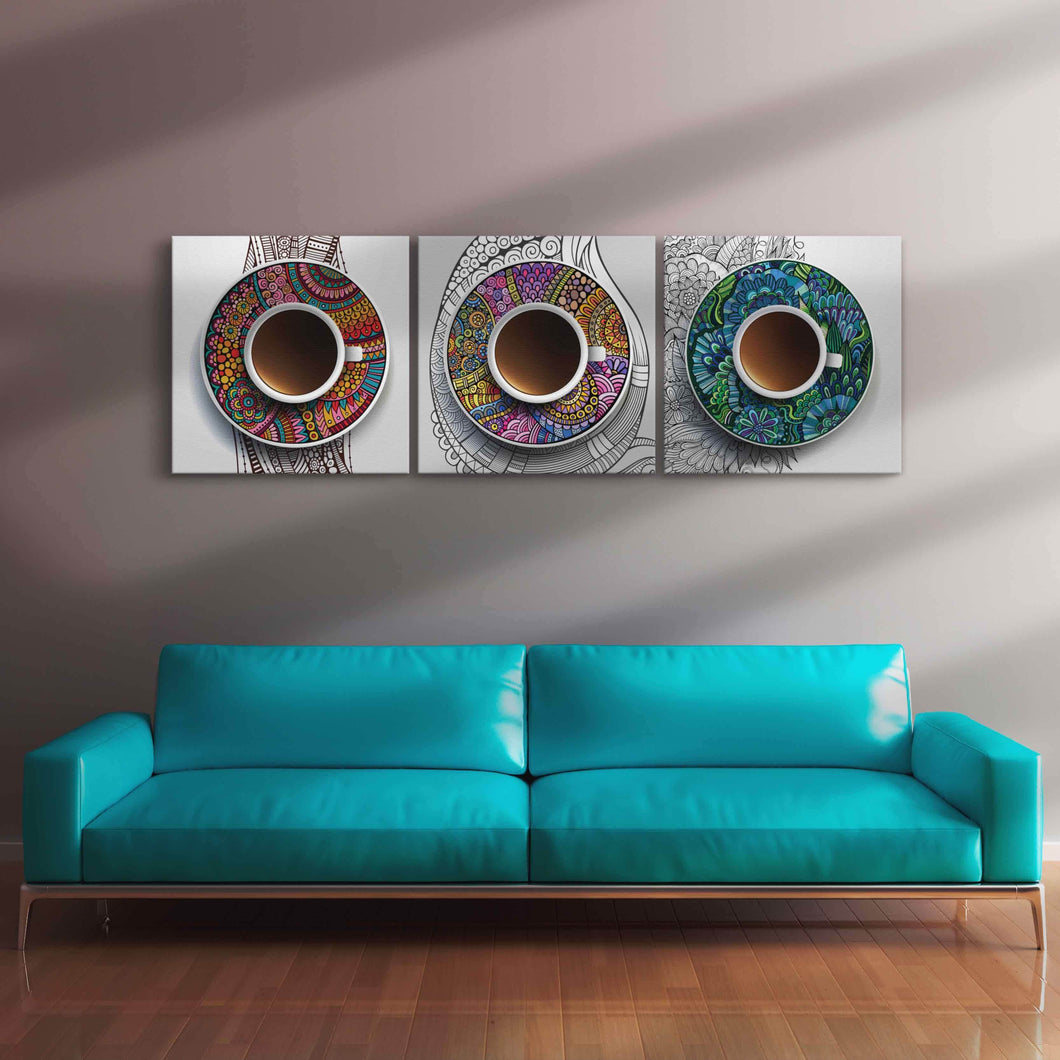 Coffee Cups Canvas Set Multi Panel Canvas Wall Art - NicheCanvas