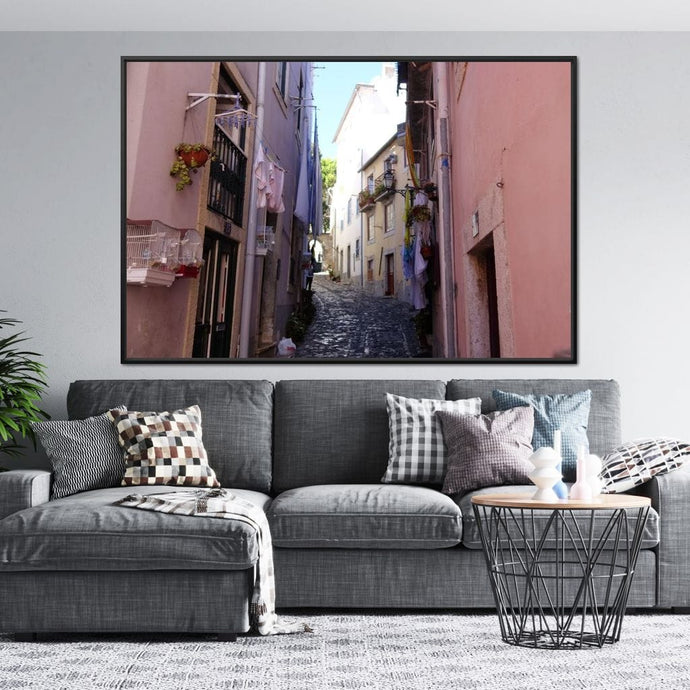Lisbon Street - Corinne Gravel Multi Panel Canvas Wall Art - NicheCanvas