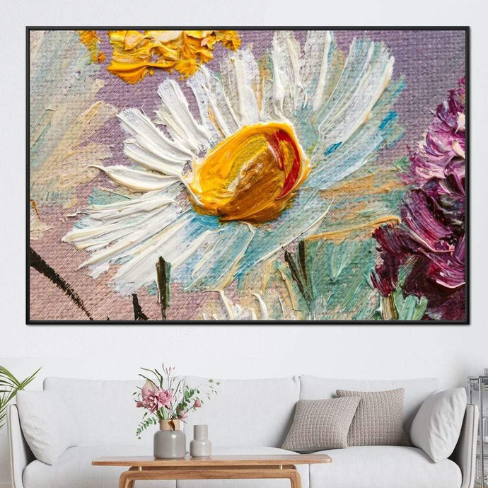 White Daisy Multi Panel Canvas Wall Art - NicheCanvas