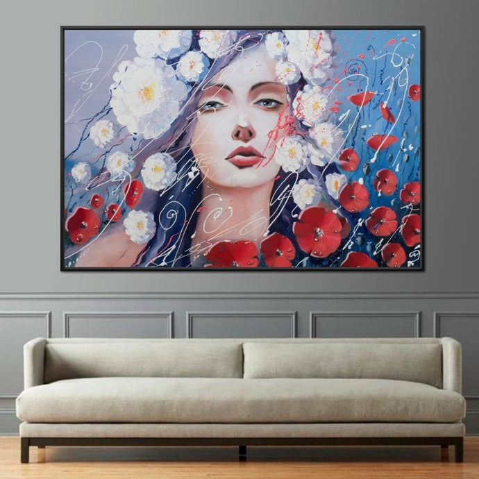 Flowers Girl Multi Panel Canvas Wall Art - NicheCanvas
