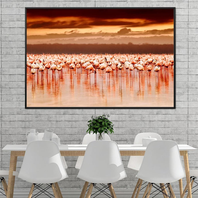 Lake Nakuru Flamingos Multi Panel Canvas Wall Art - NicheCanvas