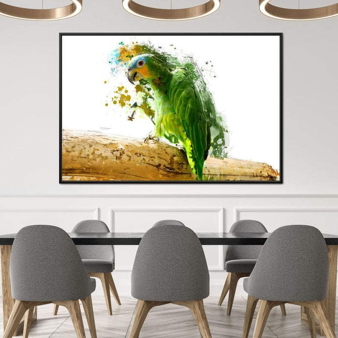 Green Abstract Parrot Huge Floating Frame