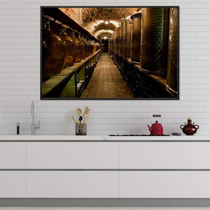 Wine Cellar Corridor Multi Panel Canvas Wall Art - NicheCanvas