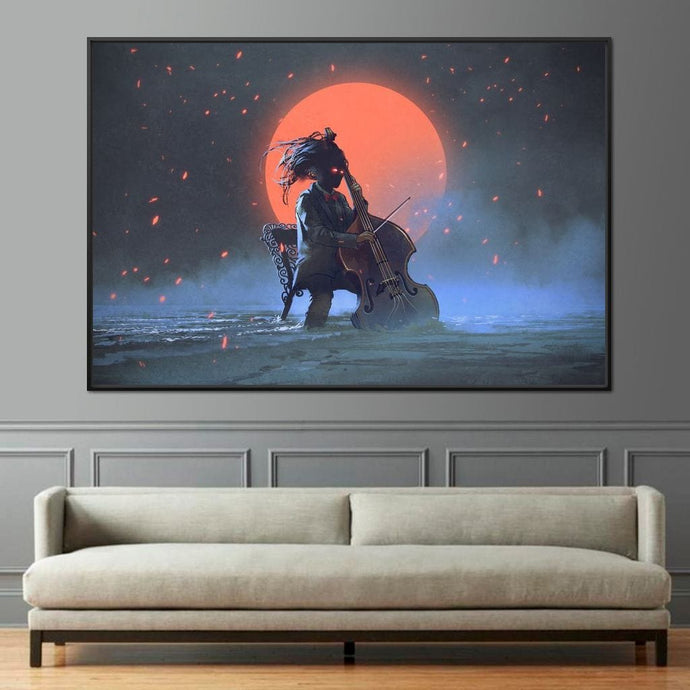 Mysterious man playing the cello Multi Panel Canvas Wall Art - NicheCanvas