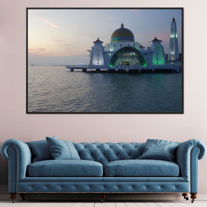 Malacca Straits Mosque - Corinne Gravel Multi Panel Canvas Wall Art - NicheCanvas