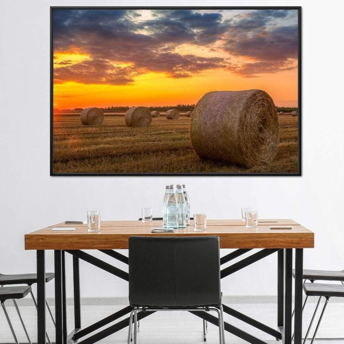 Hay Bales Sunset Multi Panel Canvas Wall Art - NicheCanvas