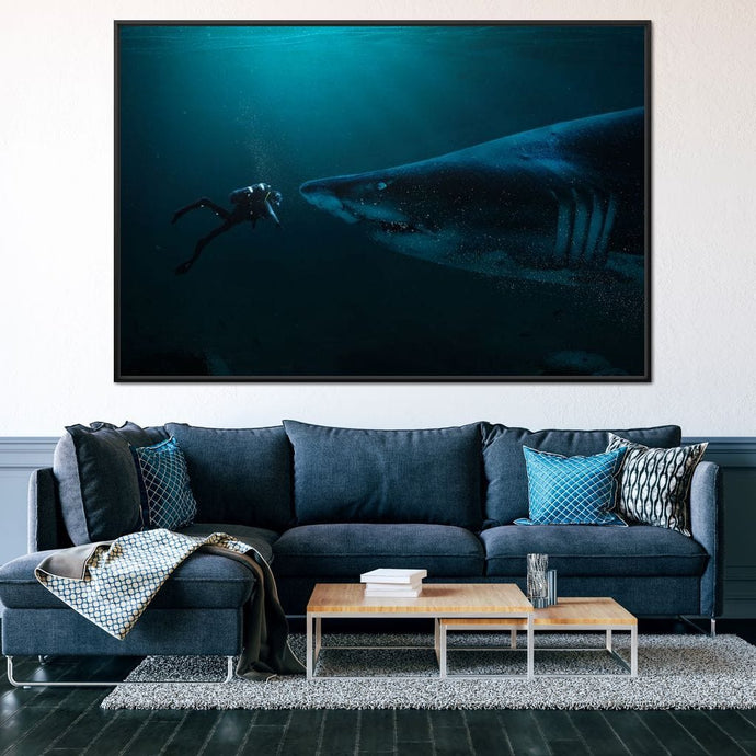 Diver and Shark - Milos Karanovic - NicheCanvas