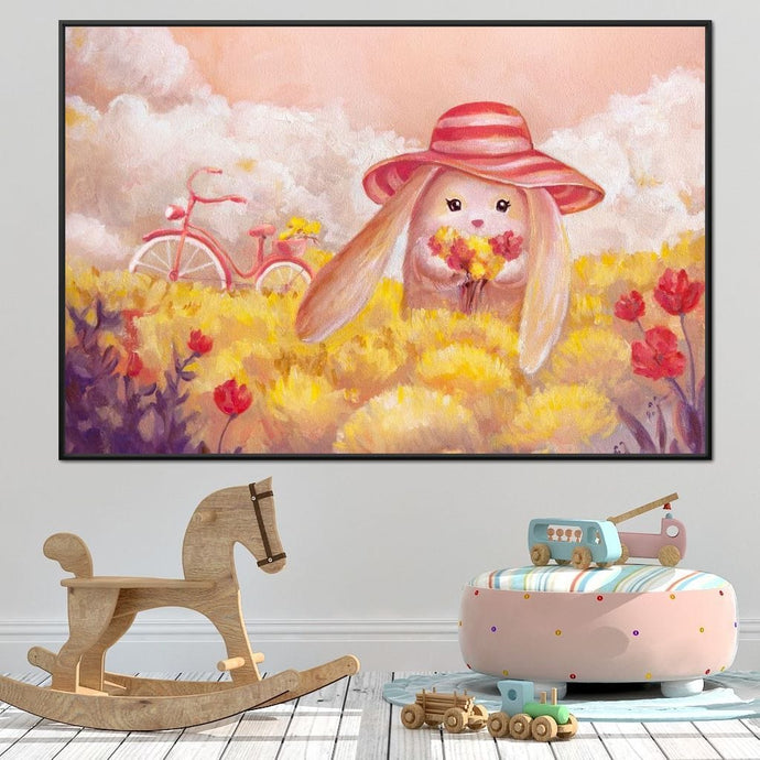 Bunny Collecting Flowers - NicheCanvas