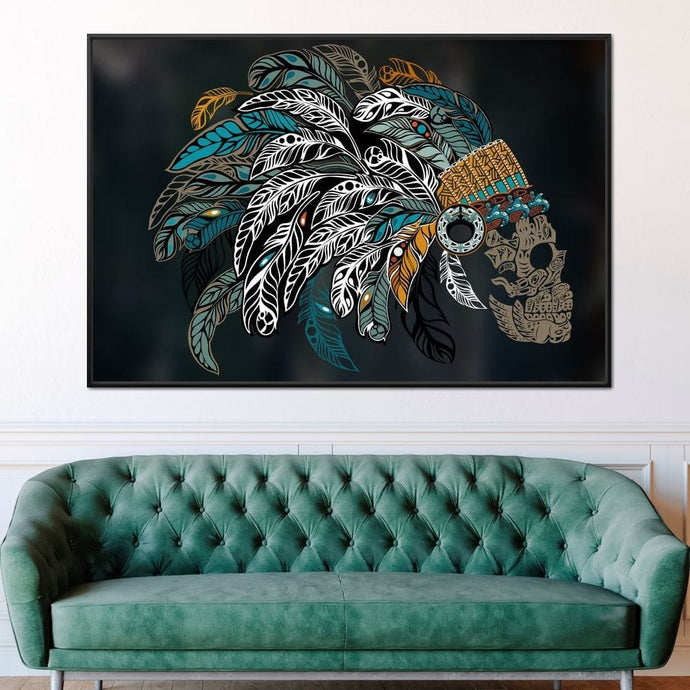 Ornamental Skull Multi Panel Canvas Wall Art - NicheCanvas