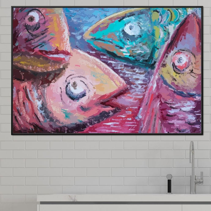 Fresh Fishes Multi Panel Canvas Wall Art - NicheCanvas