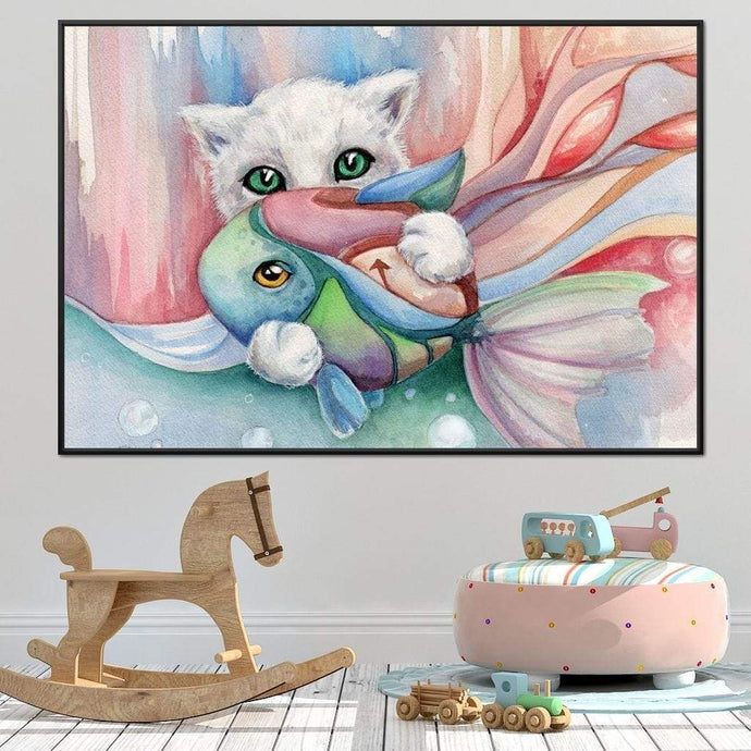 White Cat Holding a Fish - NicheCanvas