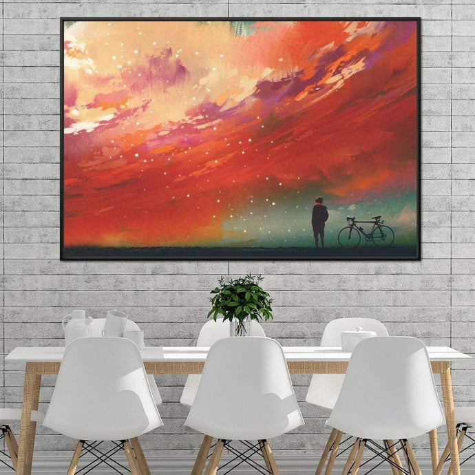 Admiring The Red Clouds Multi Panel Canvas Wall Art - NicheCanvas