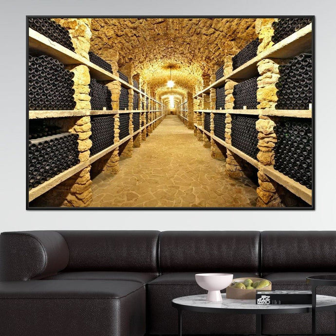 Wall of Wine Bottles Multi Panel Canvas Wall Art - NicheCanvas