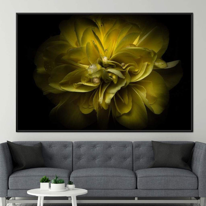 Yellow Backyard Flowers - Brian Carson Multi Panel Canvas Wall Art - NicheCanvas