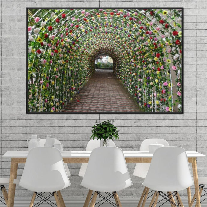Flowers Tunnel - Corinne Gravel Multi Panel Canvas Wall Art - NicheCanvas