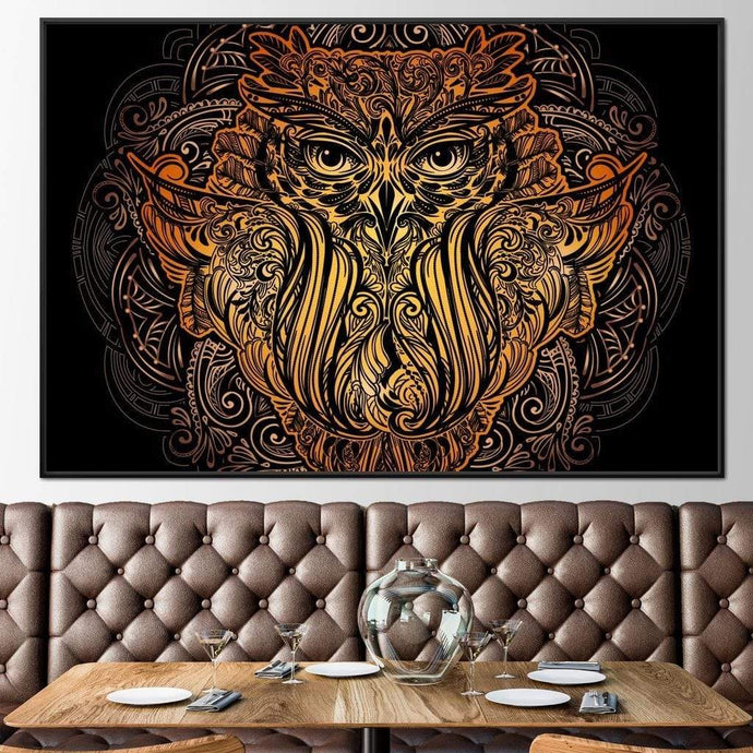 Golden Owl Multi Panel Canvas Wall Art - NicheCanvas
