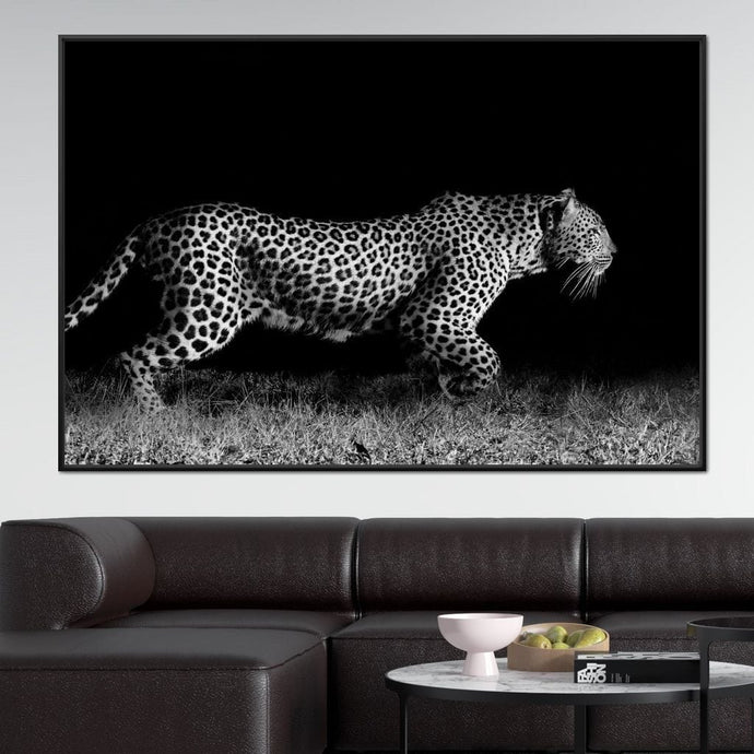 Black and White Jaguar Running Multi Panel Canvas Wall Art - NicheCanvas