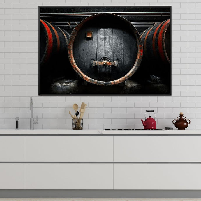 Traditional Wood Barrel Multi Panel Canvas Wall Art - NicheCanvas