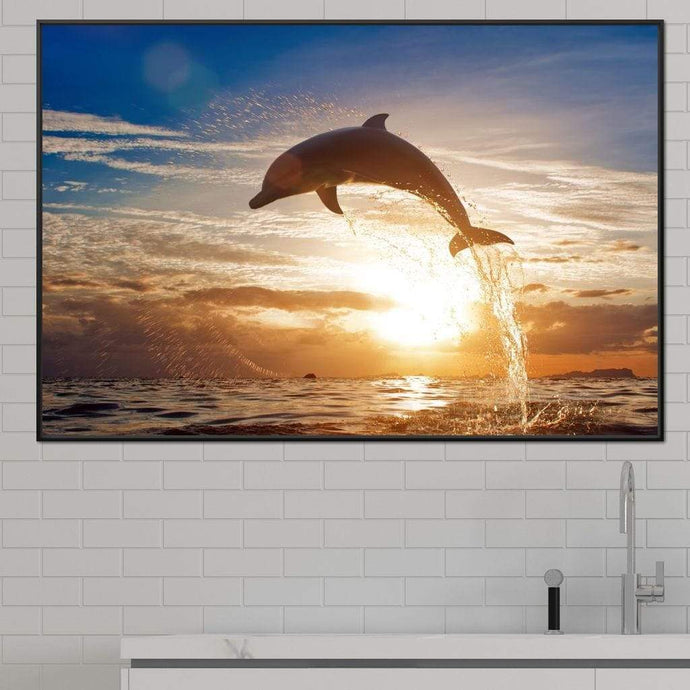 Leaping Dolphin Multi Panel Canvas Wall Art - NicheCanvas