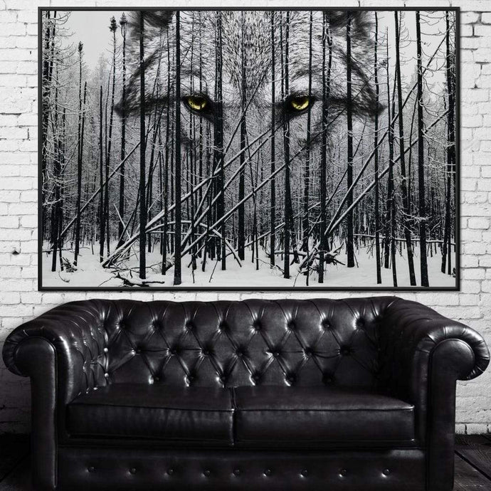 Wolf Winter Woods - Johanjjf Multi Panel Canvas Wall Art - NicheCanvas