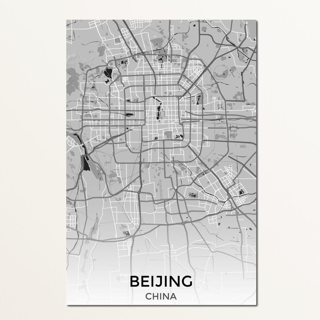 Map of Beijing, China Multi Panel Canvas Wall Art - NicheCanvas