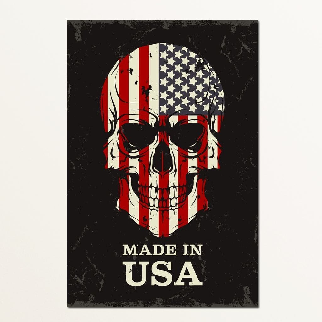 USA Flag Skull Multi Panel Canvas Wall Art - NicheCanvas