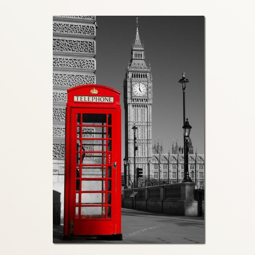 Westminster Phone Box Multi Panel Canvas Wall Art - NicheCanvas