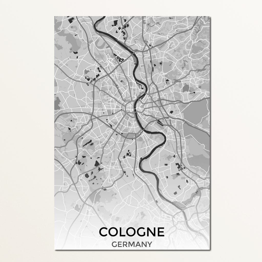 Map of Cologne, Germany Multi Panel Canvas Wall Art - NicheCanvas