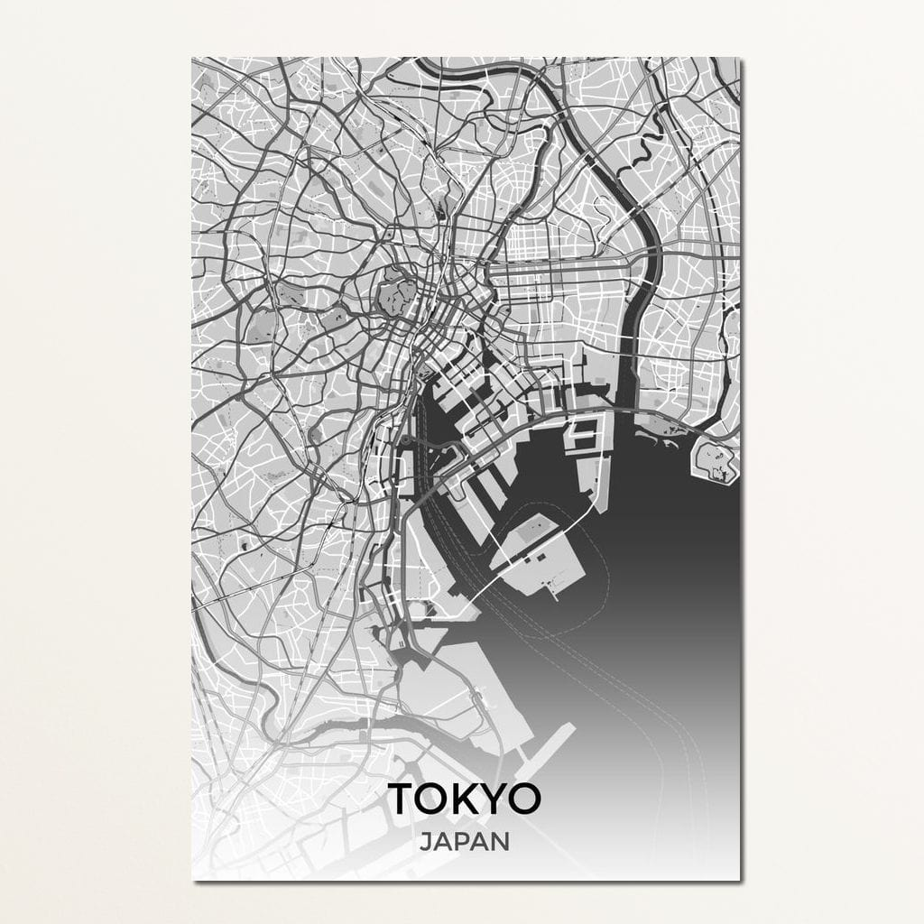 Map of Tokyo, Japan Multi Panel Canvas Wall Art - NicheCanvas