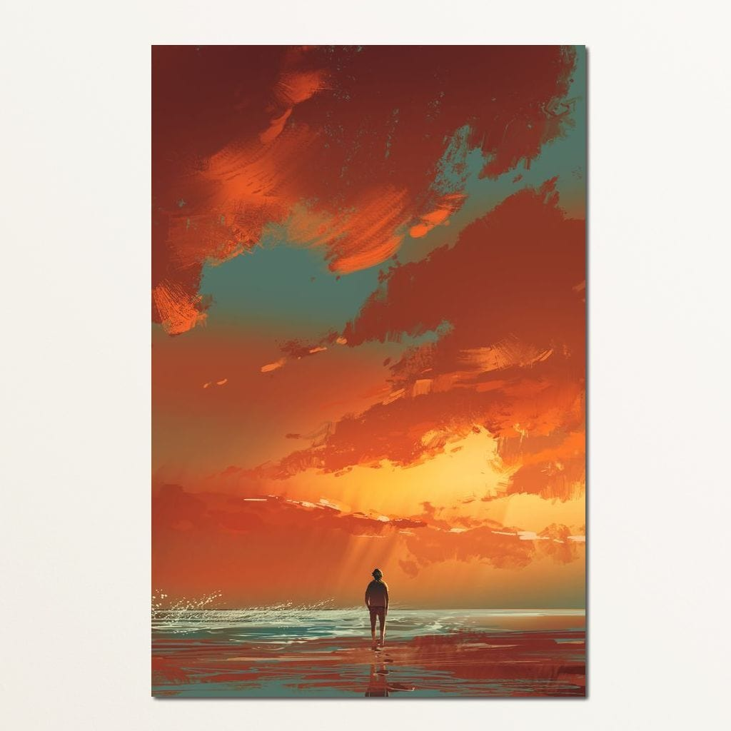 Admiring The Sunset Multi Panel Canvas Wall Art - NicheCanvas