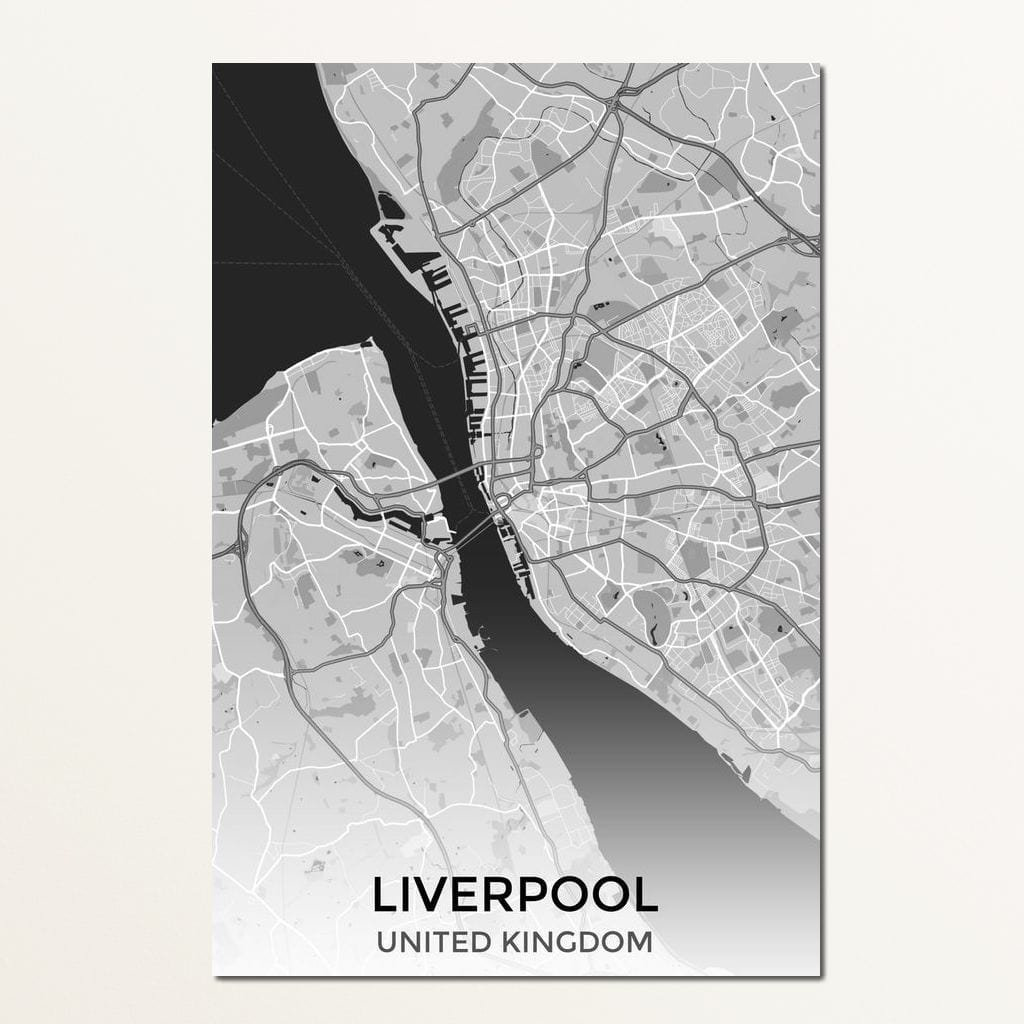 Map of Liverpool, UK Multi Panel Canvas Wall Art - NicheCanvas