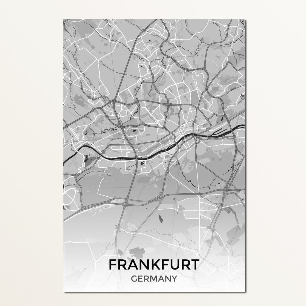Map of Frankfurt, Germany Multi Panel Canvas Wall Art - NicheCanvas