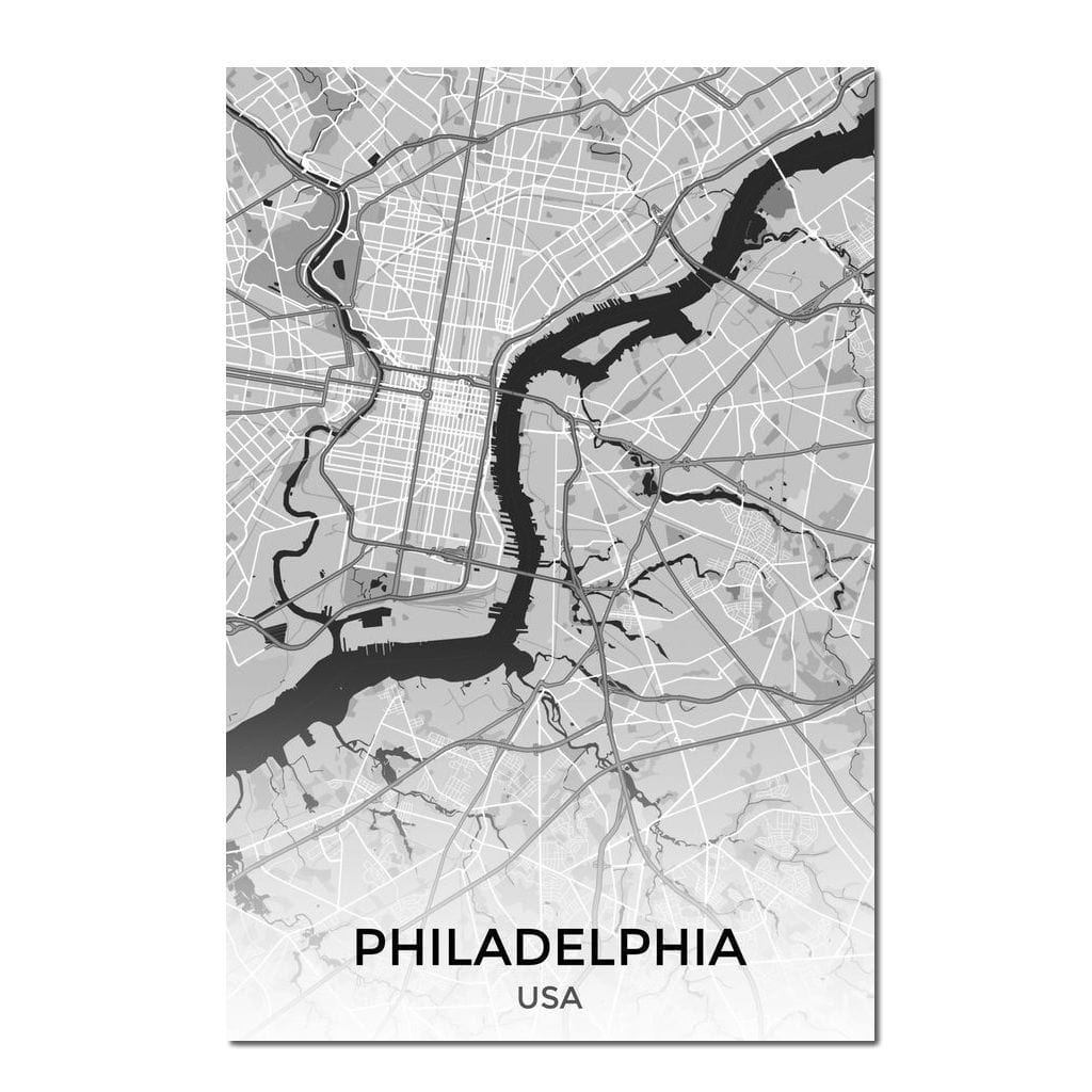 Map of Philadelphia, USA Multi Panel Canvas Wall Art - NicheCanvas