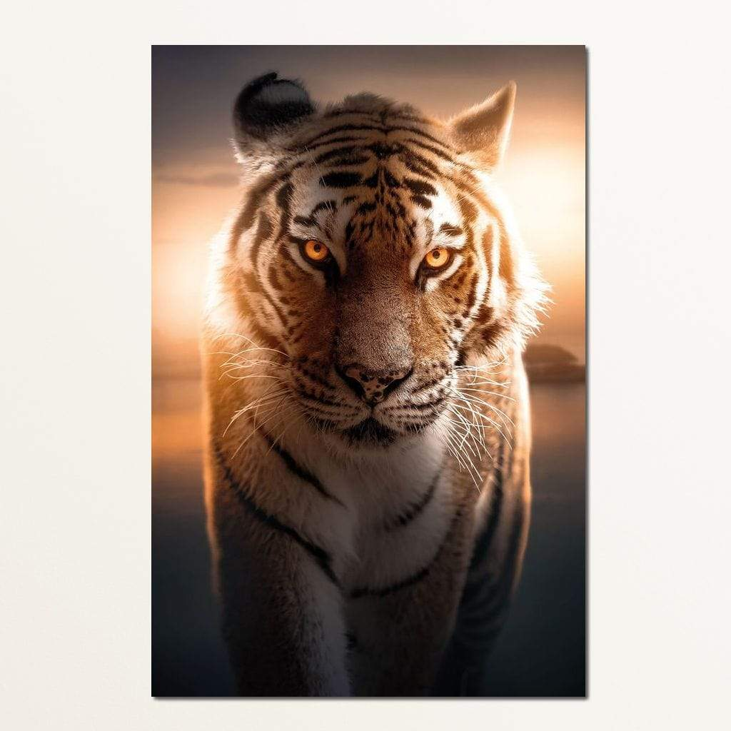 Tiger Orange Eyes - Zenzdesign Multi Panel Canvas Wall Art - NicheCanvas