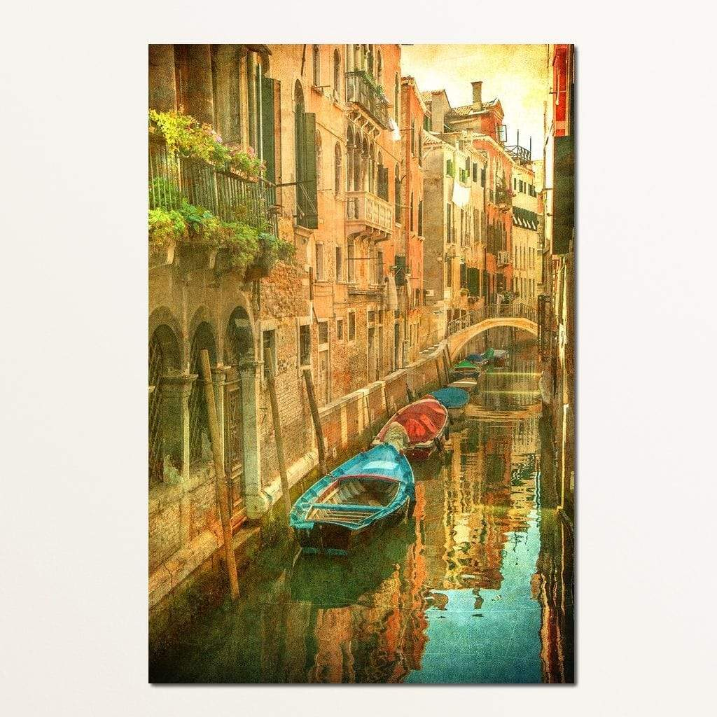 Vintage Venetian canal Multi Panel Canvas Wall Art - NicheCanvas