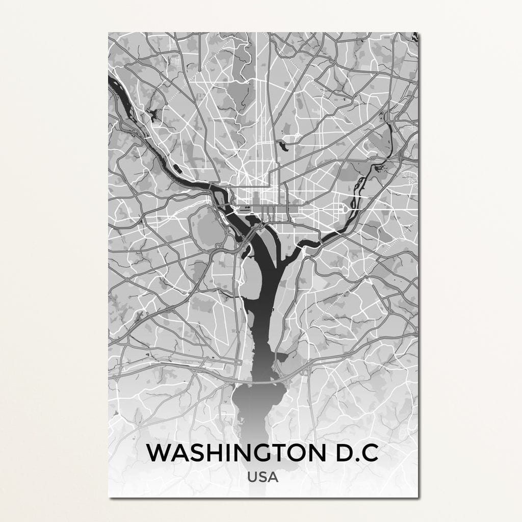 Map of Washington, USA Multi Panel Canvas Wall Art - NicheCanvas