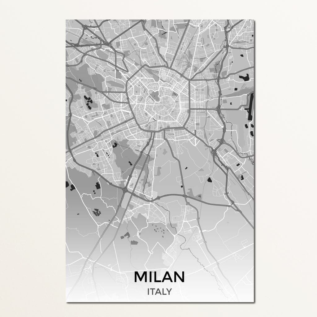 Map of Milan, Italy Multi Panel Canvas Wall Art - NicheCanvas