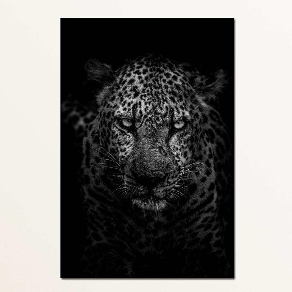 Leopard Black & White - Johanjjf Multi Panel Canvas Wall Art - NicheCanvas