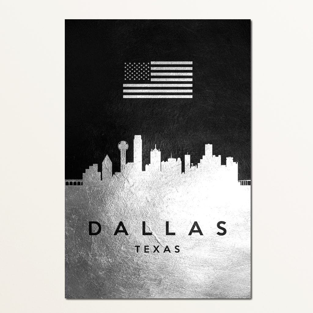 Dallas Silver Skyline - ABConcepts - NicheCanvas
