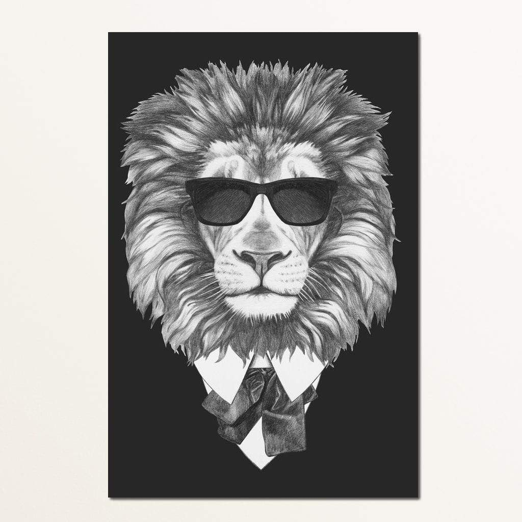 Dressed Up Lion Multi Panel Canvas Wall Art - NicheCanvas
