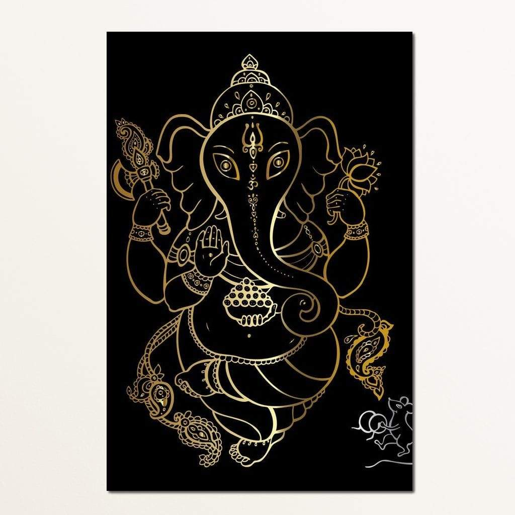 Golden Ganapati Multi Panel Canvas Wall Art - NicheCanvas