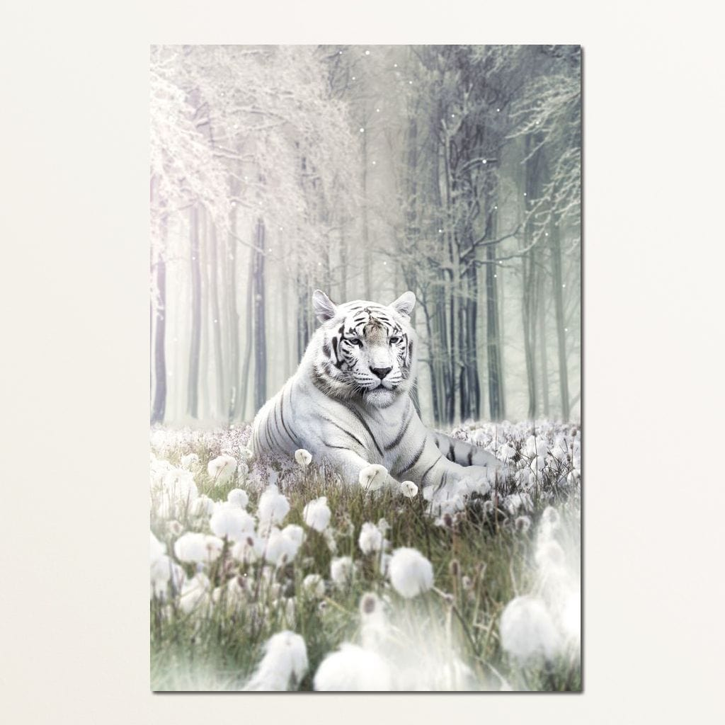 White Tiger Flowers - Zenzdesign Multi Panel Canvas Wall Art - NicheCanvas