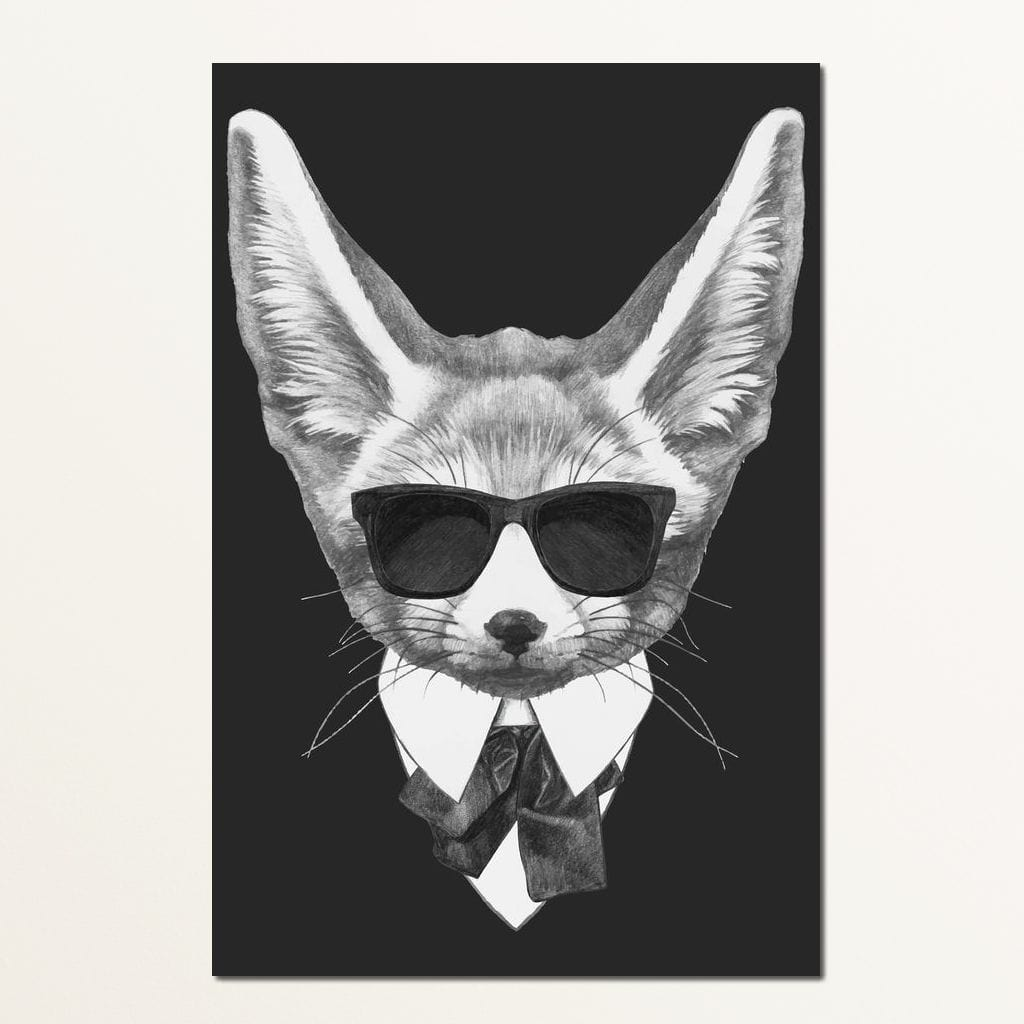 Dressed Up Fox Small Canvas