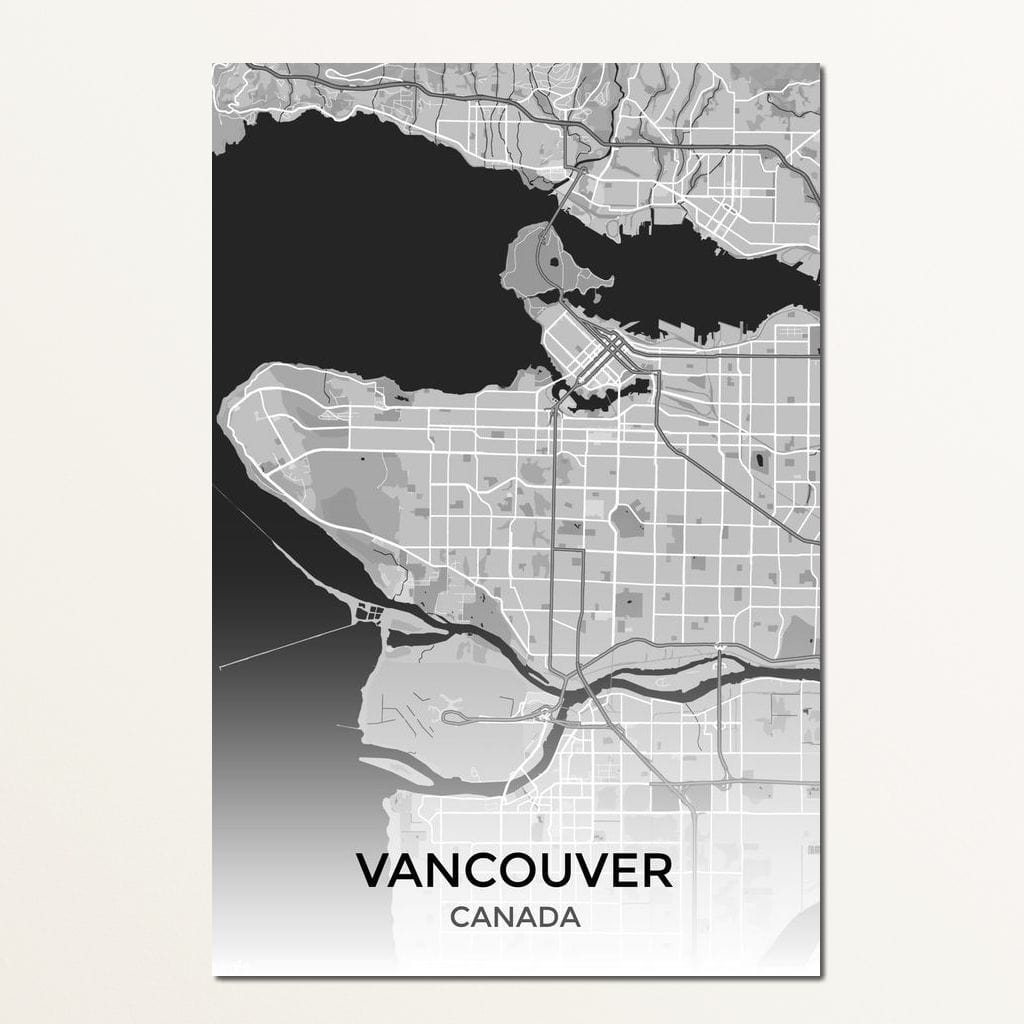 Map of Vancouver, Canada Multi Panel Canvas Wall Art - NicheCanvas