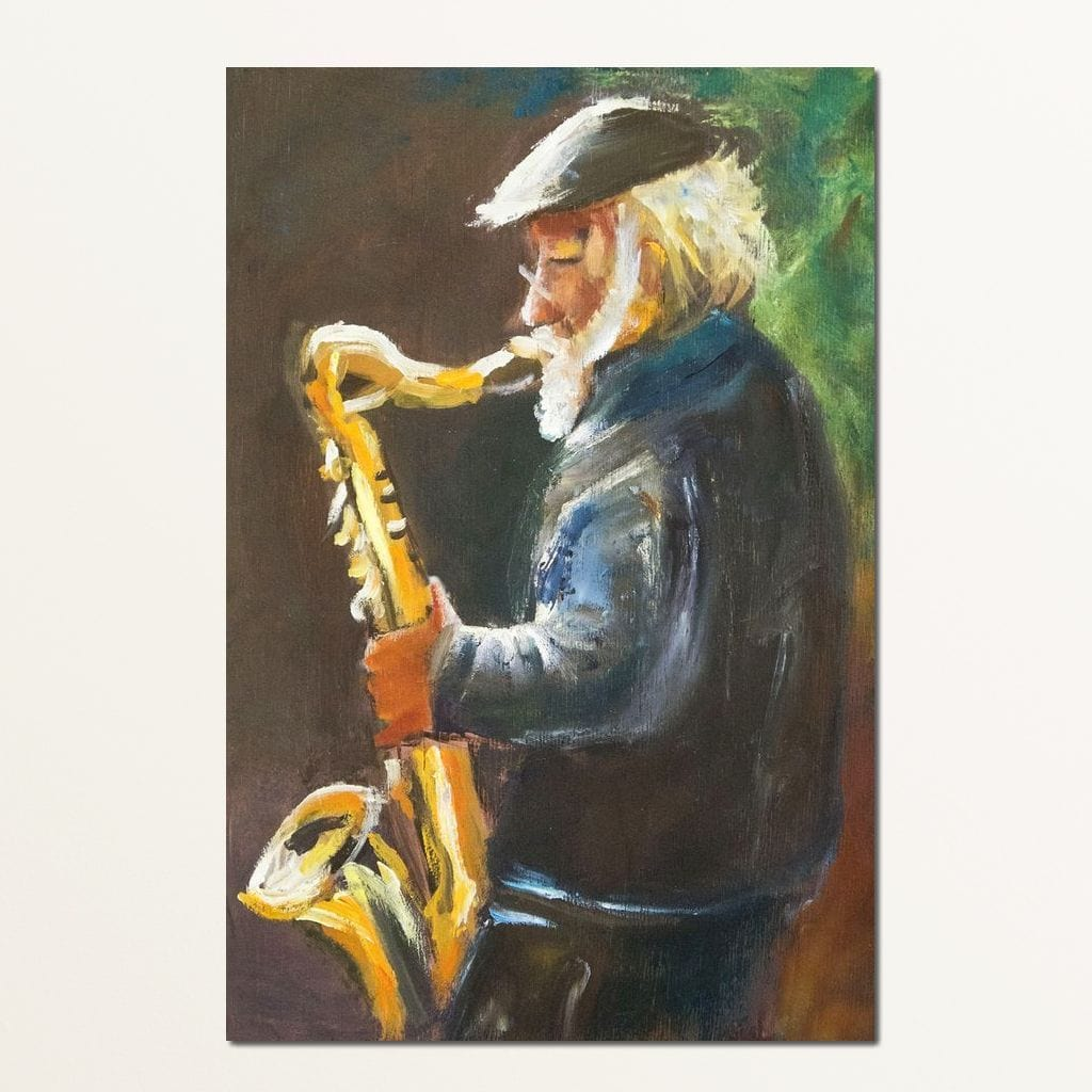 Saxophone Maestro Multi Panel Canvas Wall Art - NicheCanvas