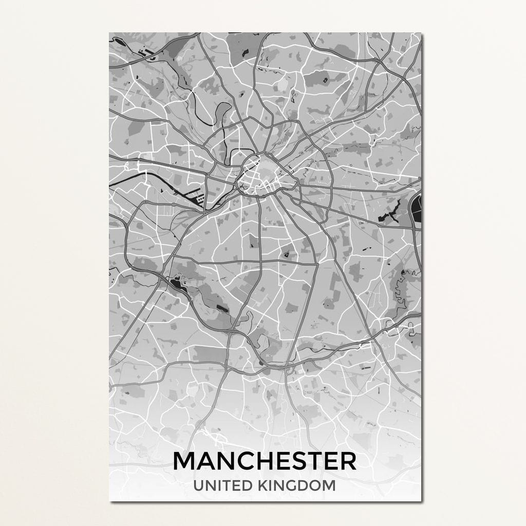 Map of Manchester, UK Multi Panel Canvas Wall Art - NicheCanvas