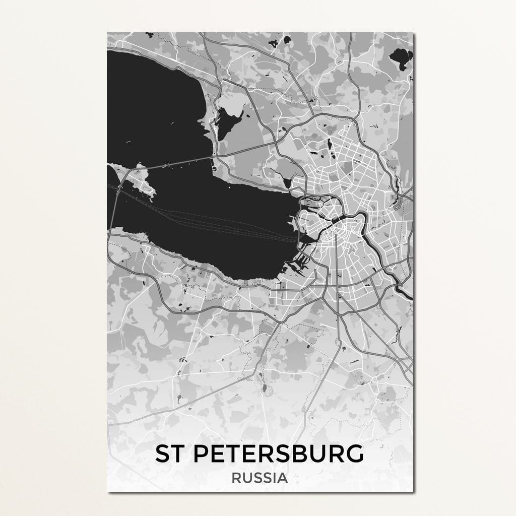 Map of St Petersburg, Russia Multi Panel Canvas Wall Art - NicheCanvas